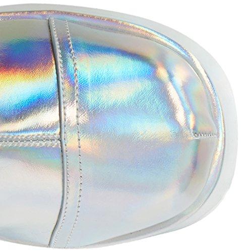 Leather Women's Slv Boots 204 Slay Hologram Demonia Vegan Silver Silver CfSdzWzqw