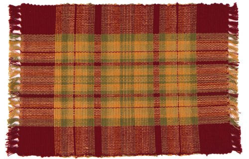 100-Cotton-Red-Green-Tan-Plaid-12x18-Placemat-Set-of-6-Macintosh