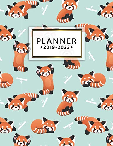 2019-2023 Planner: Red Panda 5 Year Planner with 60 Months Spread View Calendar. Cute Bamboo Bear Five Year Agenda, Organizer, Journal and Business Schedule Notebook.