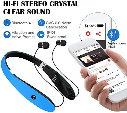 Bluetooth Headphones, Bluetooth Headset Foldable Neckband Wireless Headset with Retractable Earbuds, Bluetooth V4.1, 16 Hours Playtime, Sports Sweatproof Noise Cancelling Earphones with Mic Blue