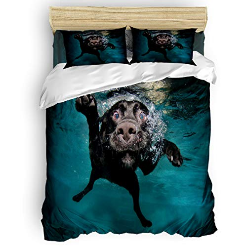 KAROLA Lightweight Microfiber Duvet Cover Set 4 Piece Luxury Hypoallergenic Bedding Comforter Quilt Cover with Zipper Closure,Funny Lovely Labrador Dog Ocean Theme Twin, 68 by 86 inch