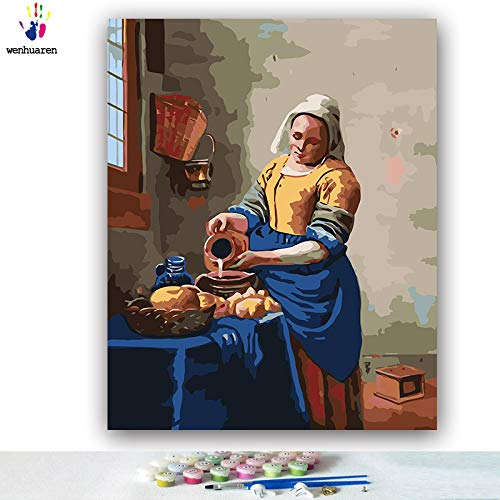 (Paint by Number Kits Canvas DIY Oil Painting for Kids, Students, Adults Beginner with Brushes and Acrylic Pigment -The Milkmaid Johannes Vermeer (5507, 20x24 no)