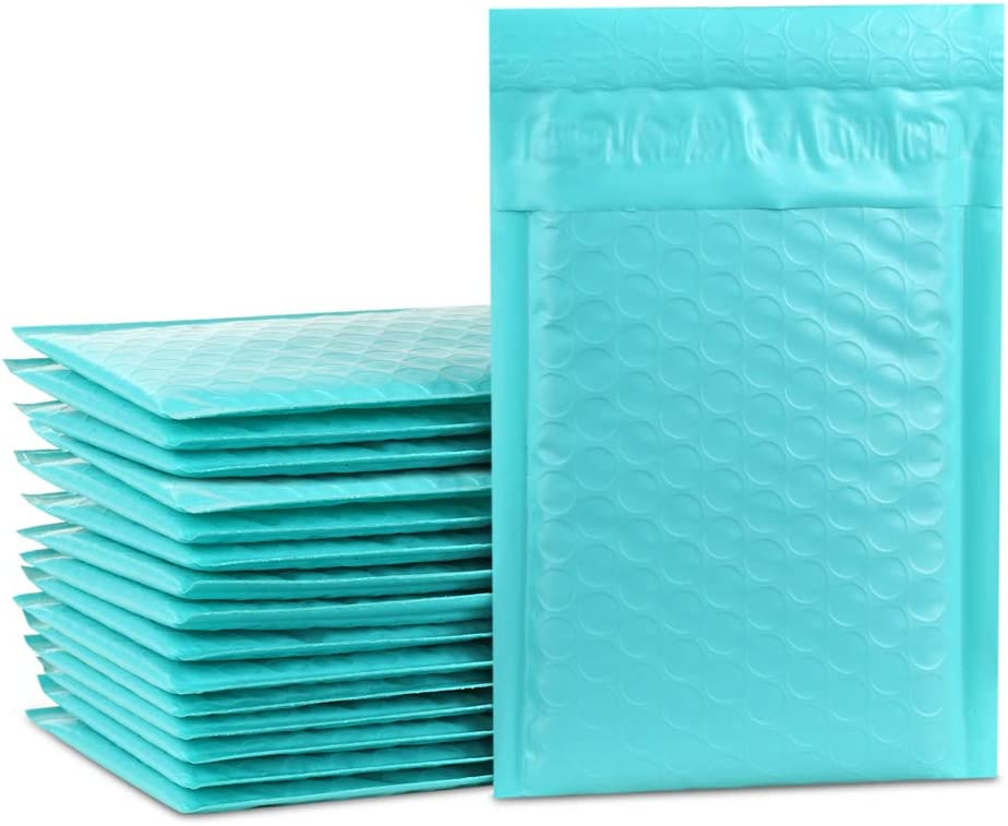 UCGOU 4x8 Inch Teal Poly Bubble Mailer Envelopes Bags Self Seal Padded Envelopes 50Pcs