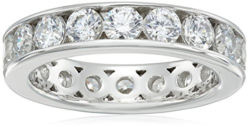 Eternity Diamond Ring Simulant - Platinum-Plated Sterling Silver Swarovski Zirconia Channel Set All-Around Band Ring (3 cttw), Size 7