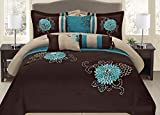 King Bed Comforter Sets for Sale 7 Piece Brown & Turquoise Embroidery Comforter Set (King)