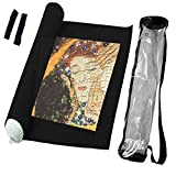 Frealm Felt Puzzle Mat Puzzles Storage Saver Jigsaw Puzzle Playmat Jigsaw Saver Roll Up Mat with Waterproof Clear Storage Bag, Up to 3000psc (Black)