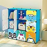 Koossy Expandable Kids' Bookcase Toy Storgae Organizer, Capacious & Sturdy 9 Cube (Blue)