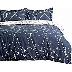 "Bedsure Duvet Cover Set with Zipper Closure-Branch and Plum Blue Printed Pattern,Full/Queen (90""x90"")-3 Piece (1 Duvet Cover + 2 Pillow Shams)-110 gsm Ultra Soft Hypoallergenic Microfiber by"