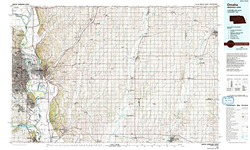 YellowMaps Omaha NE topo map, 1:100000 Scale, 30 X 60 Minute, Historical, 1985, Updated 1993, 24.1 x 40 in - Polypropylene]()