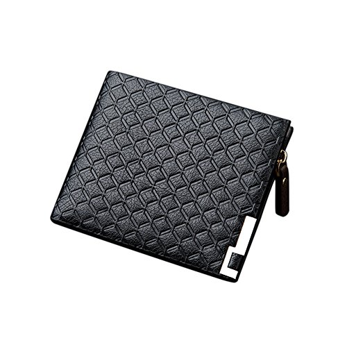 - Skyflying Stylish Man PU Leather Multi-Card Bifold Wallet with an Inside Zippered Coin Purse Short/Black