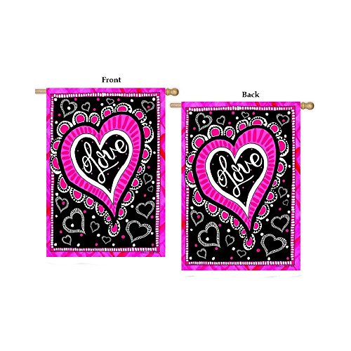 """Cheap """"Love Heart"""" – Valentine – STANDARD Size, 28 Inch X 40 Inch, Decorative Double Sided Flag – Exclusively Made in the USA – Copyrights and Licensed by Custom Decor Inc."""