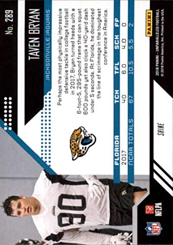 Amazon.com  2018 Unparalleled Football Shine  289 Taven Bryan Jacksonville  Jaguars Rookie RC Rookie NFL Trading Card made by Panini  Collectibles    Fine Art 782074530