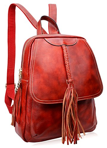 PIJUSHI Fashion Women Leather Backpack Designer Backpack For Girls Travel School Bag 8823(Red) by PIJUSHI