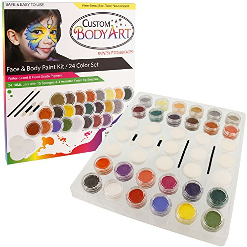 24 Color Pro Face Paint Color Set. Large 10-ml Jars with Applicator Kit. A Full 24 Color Rainbow Pallet, Perfect for Face Painting At Any Children's Party