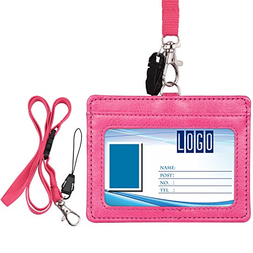 Wisdompro 2-Sided Horizontal Style PU Leather ID Badge Holder with 1 ID Window and 1 Card Slot and 1 piece 23