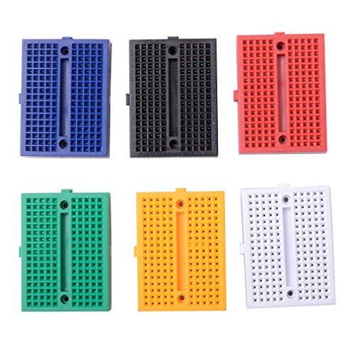 Qunqi 6pcs 170 Points Mini Breadboard for Arduino ProtoShield (Blue+Black+Red+Green+Yellow+White)