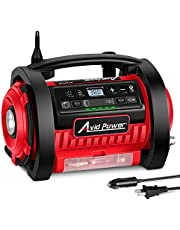 Tire Inflator, 12V DC / 110V AC Dual Power Tire Pump Air Compressor with Inflation and Deflation Modes, Dual Powerful Motors, Digital Pressure Gauge, AVID POWER