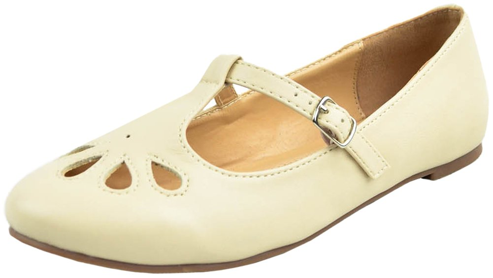 Cambridge Select Women's T-Strap Closed Round Toe Teardrop Cut Out Flat B078GZXW76 8.5 B(M) US|Nude Pu
