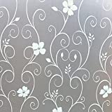 Window Film Privacy Window Film Frosted Glass Film White Flower Pattern No Glue Anti-UV Easy to Installation for Suite Bedroom Living Room Etc