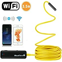 BlueFire Semi-rigid Flexible Wireless Endoscope IP67 Waterproof WiFi Borescope 2 MP HD Resolutions Inspection Camera Snake Camera for Android and iOS Smartphone, iPhone, Samsung, iPad, Tablet ( 2M)
