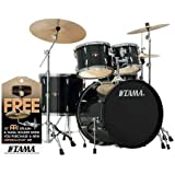 Tama Imperialstar 5-Piece Complete Drum Kit with Meinl HCS Cymbals - FREE PROMO CYMBAL PACK - Hairline Black