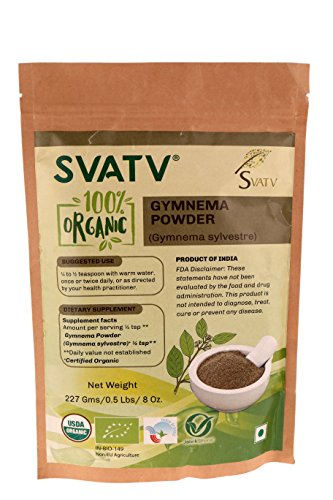 SVATV Gymnema Powder (Gymnema sylvestre) 1/2 LB, 08 oz, 227g USDA Certified Organic- Biodegradable Reselable Zip Lock Pouch, Supports Healthy Blood Glucose Levels and Proper Function of Pancreas* (Gymnema Sylvestre Powder)
