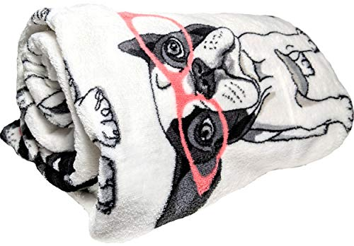 JustHome Fun Print Soft Cozy Lightweight 50 x 60 Fleece Throw Blanket (White with French Bulldogs in Glasses)