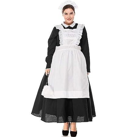 SDKHIN Traje de mucama French Manor Maid Vestido Algodón ...