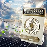 Portable Fan Solar Mini Fan LED Table Lamp 3 in 1 Multi-function Eye-Care Flashlight Light for Home Camping Solar Cooling Fans(Gold)
