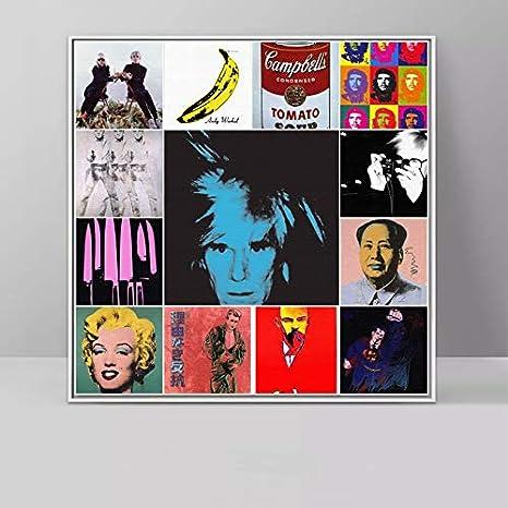 Arte Astratta Andy Warhol Ritratto Pittura Classica Arte Murale Pittura Su Tela Per Soggiorno Stampa Su Tela Stampa Poster 50x50 Cm Amazon De Kuche Haushalt