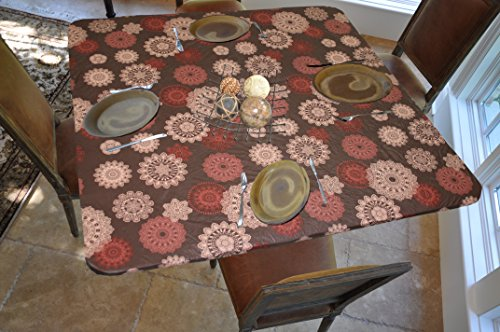 Covers For The Home Deluxe Elastic Edged Flannel Backed Vinyl Fitted Table Cover - Medallion Pattern - Square - Fits Tables up to 46