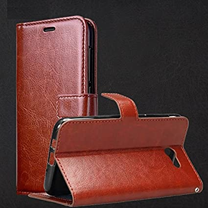 low priced 67e04 3d63a HOM Wallet Flip Case Cover for Samsung Galaxy On7 Prime / J7 Prime / J7  Prime 2 - Brown