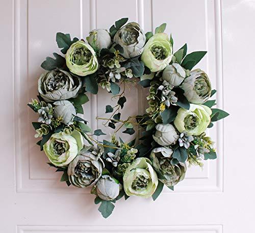 Brown Artificial Wreath - Liveinu Artificial Handmade Wreaths for Front Door with Twig Base Flowers Arrangements Wedding Table Centerpieces Wreath Garland Blooming Peonies Hydrangea Green 15.6 Inch