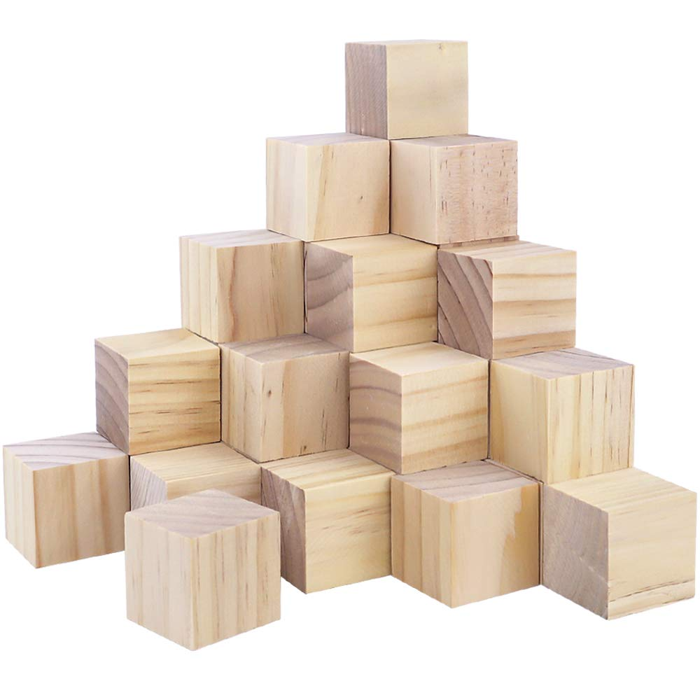 CEWOR 36Pcs 1.5'' Natural Solid Wood Cubes Wood Square Blocks for Puzzle Making and Baby Shower