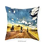 VROSELV Custom Cotton Linen Pillowcase Country Decor Group of Friends Band on Motorcycles in Countryside Rural Adventure Travel Up Art Work for Bedroom Living Room Dorm Multicolor 24''x24''