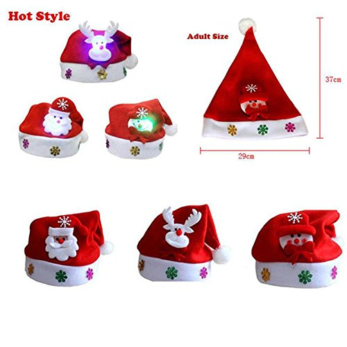 Blinking Santa Hat G-real Christmas Hat for Childrens and Adults, for Celebrations and Recreation (A(Adult))