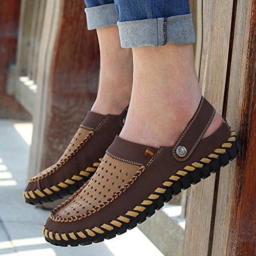 YiLianDa Zapatos Casuales Mocasines Cómodos Antideslizantes para Hombre oscuro Marrón