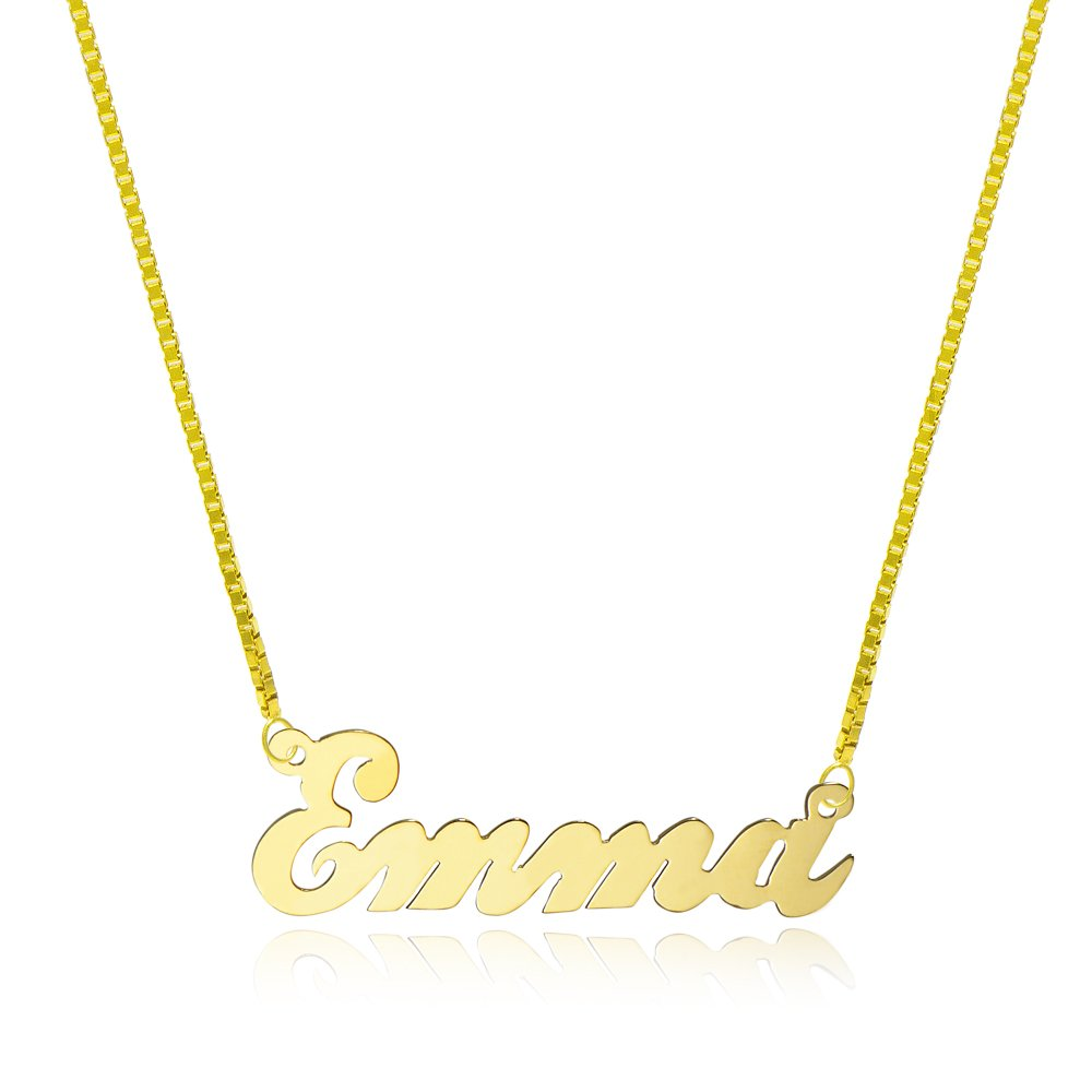 14K Yellow Gold Personalized Name Necklace - Style 2 (18 Inches, Box Chain) by Pyramid Jewelry