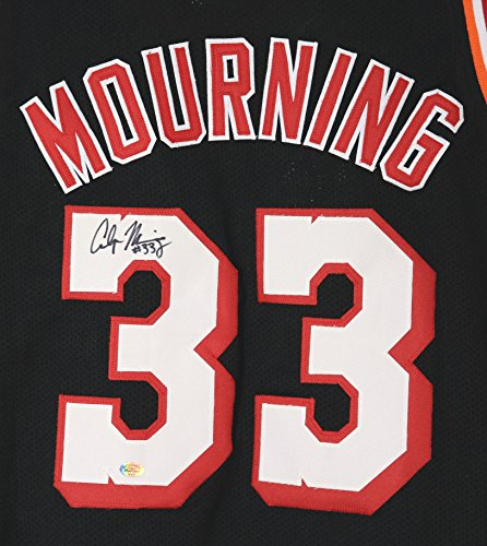 low priced d624c 06a81 Alonzo Mourning Miami Heat Signed Autographed Black #33 ...