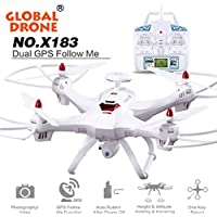 Ikevan Global Drone 6-axes X183 With 2MP WiFi FPV HD Camera GPS Brushless Quadcopter (Black)