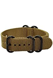 22mm Premium Heavy Nato 5-ring PVD Nylon Solid Desert Tan Interchangeable Replacement Watch Strap Band