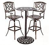 HOMEFUN Outdoor Swivel Bar stools Bistro Pub Table Set Cast Aluminum Bar Height Patio Set of 3(Antique Bronze)