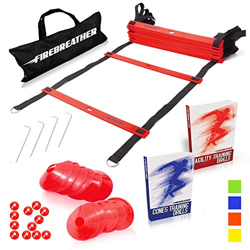Agility Ladder and Cones by FireBreather. Great Training Equipment to Exercise Speed in Soccer, Football & Sports Workout. Set of 15ft Ladder, 12 Discs, 4 Pegs, Carrying Bag & 2 ()