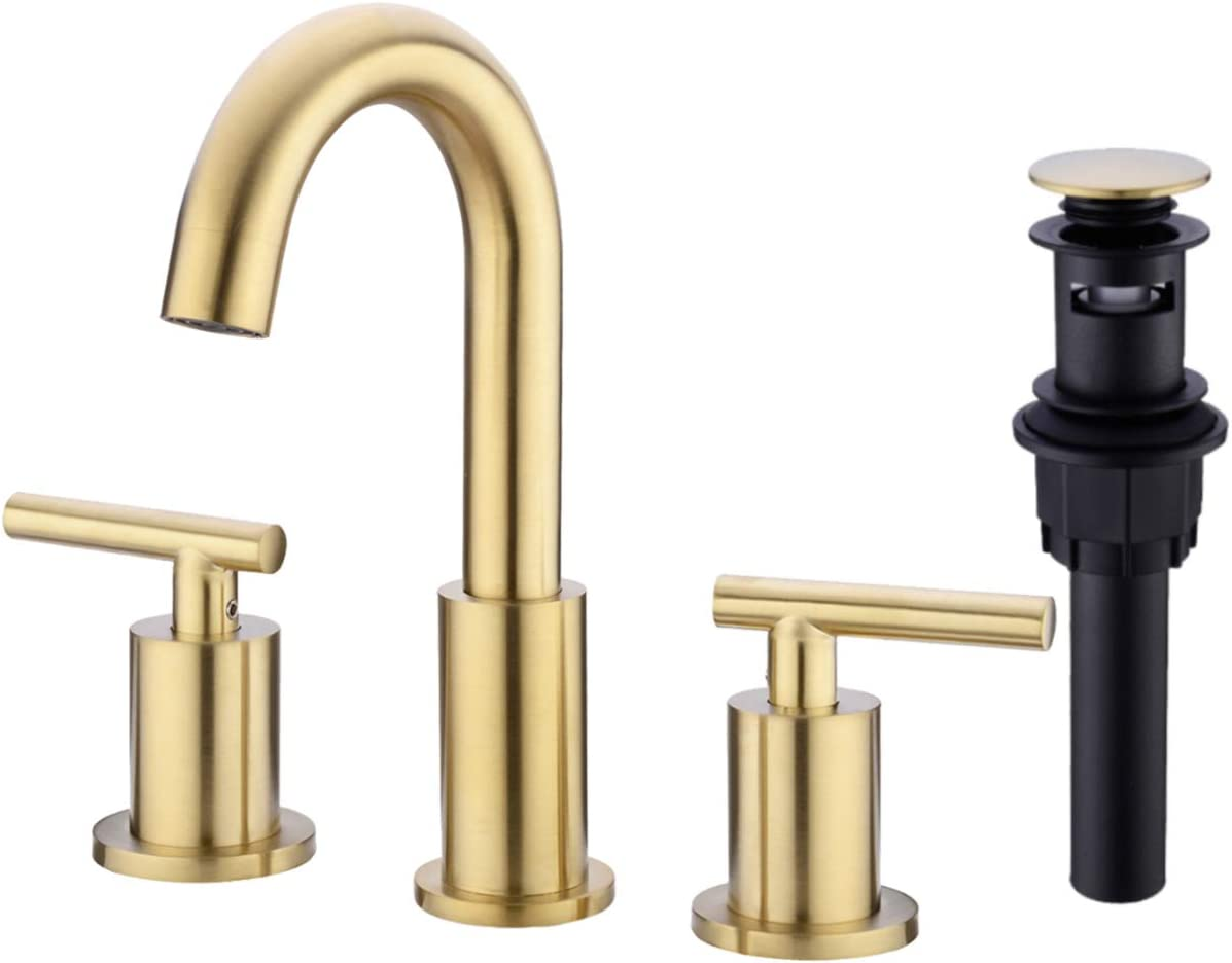 TRUSTMI 2 Handle 8 Inch Brass Bathroom Sink Faucet 3 Hole Widespread with  Valve and cUPC Water Supply Hoses, with Overflow Pop Up Drain Assembly,  Brushed Gold - - Amazon.com