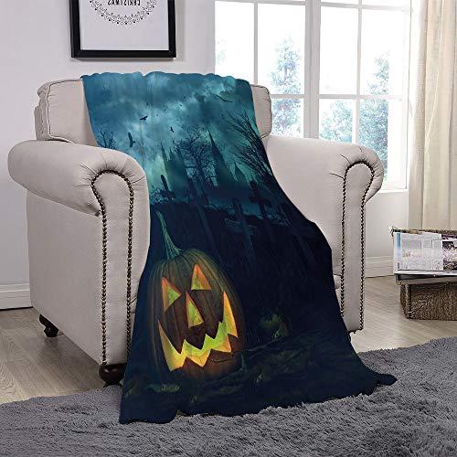 YOLIYANA Light Weight Fleece Throw Blanket/Halloween,Halloween Pumpkin in Spooky Graveyard Eerie Gloomy Stormy Atmosphere,Petrol Blue Yellow/for Couch Bed Sofa for Adults Teen Girls Boys ()