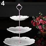 """display083Tier hardware corona Cake Plate soporte mango boda parte decoración de la mesa, acero inoxidable, rosa, 3.82"""""""