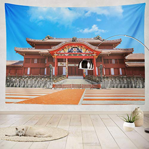 "ONELZ Decor Collection,Shuri Castle Okinawa Bedroom Living Room Dorm Wall Hanging Tapestry 60"" L x 80"" W Polyester & Polyester Blend"