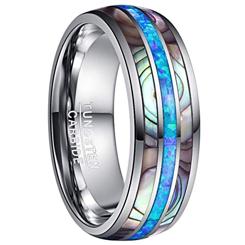 NUNCAD Mens Blue Opal Wedding Band Tungsten Carbide Ring Abalone Shell Inlay Domed Polished Finish Size 12.5 ()
