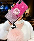 iPhone 8 Plus Bling Fur Ball Case with Ring Stand,Aulzaju iPhone 7 Plus Luxury Gradient Color Shiny Shockproof Hard Fashion Case with Strap for iPhone 8 Plus/7 Plus for Girls Women-Pink