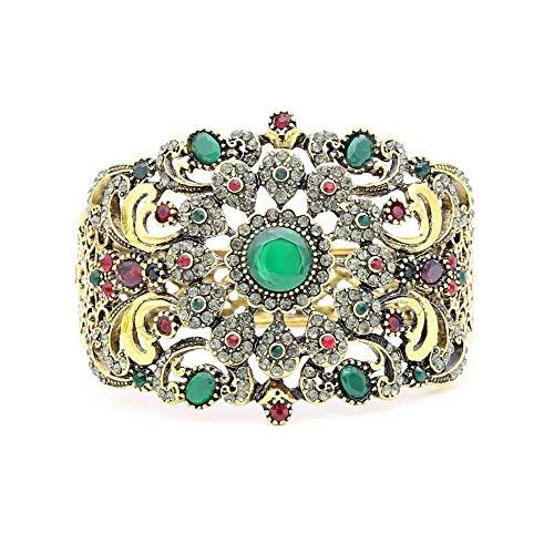 Tanakorn Women Flower Resin Bangle Cuff Arabesque Antique Gold Plat Vintage Jewelry India Bracelet Gypsy Ethnic Festival Jewelry(Green)